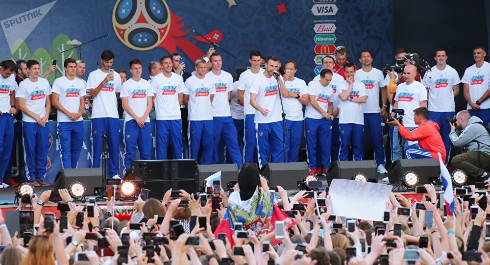 Russian national football team during a meeting with fans in the fan zone on the Vorobyovy Gory in Moscow