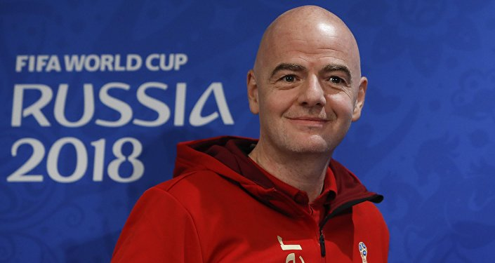 FIFA President Gianni Infantino smiles before a news-conference at the Luzhniki stadium, in Moscow, Russia, July 13, 2018