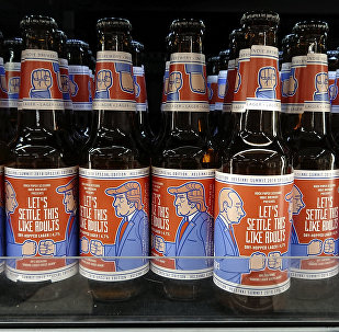 Beer labelled Let's Settle This Like Adults produced by Finnish Rock Paper Scissors brewing company is seen in a grocery store ahead of U.S President Donald Trump and Russian President Vladimir Putin's summit in Helsinki, Finland, July 11, 2018
