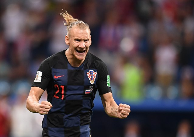 Domagoj Vida (Croatia) during a series of after match penalties in a match of a quarterfinal of the FIFA World Cup between Russian and Croatia  national teams
