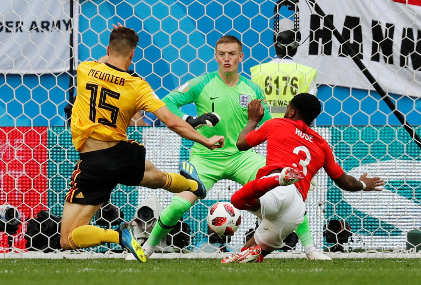 Soccer Football - World Cup - Third Place Play Off - Belgium v England - Saint Petersburg Stadium, Saint Petersburg, Russia - July 14, 2018 Belgium's Thomas Meunier scores their first goal