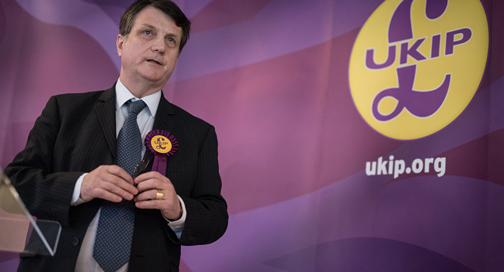 UKIP (UK Independence Party) Brexit spokesman and Member of the European Parliament for London (MEP), Gerard Batten, addresses members of the media at the party's by-election campaign headquarters in Stoke-on-Trent