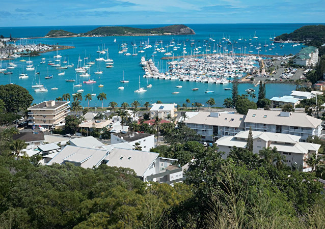 This photo dated Monday, May 9, 2018 shows a general view of the bay of Noumea, the capital of New Caledonia, a French territory in the South Pacific, with the yachting port in the background