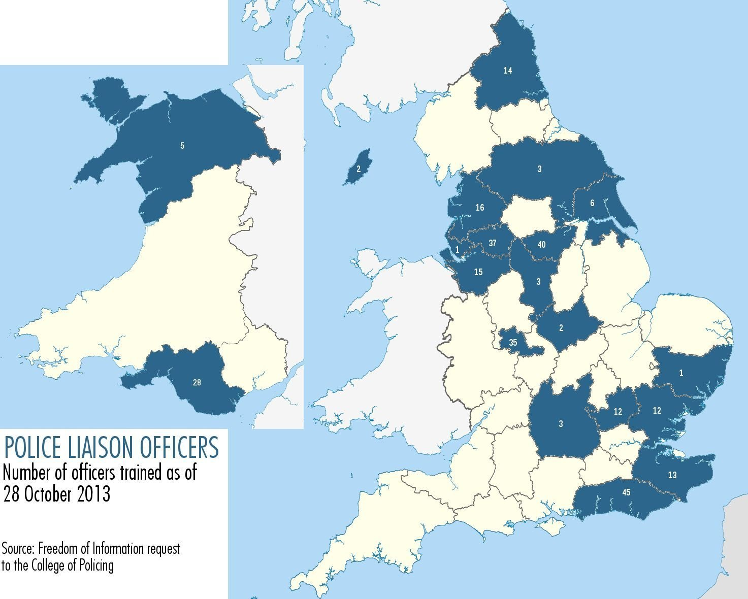 Numbers of Police Liaison Officers in English and Welsh police forces © Netpol