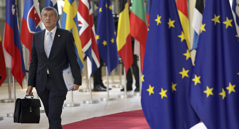 Czech Republic's Prime Minister Andrej Babis arrives for an EU summit at the Europa building in Brussels, Thursday, June 28, 2018
