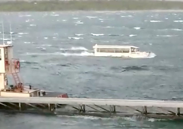A duck boat is seen at Table Rock Lake in Branson, Missouri, U.S., July 19, 2018 in this picture grab obtained from social media video