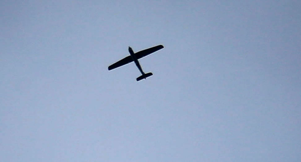 An unmanned aerial vehicle (UAV) flying over the sky in the besieged Eastern Ghouta region on the outskirts of the capital Damascus(File)