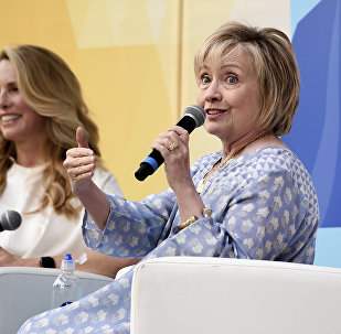 Former First Lady of The United States, Democratic presidential candidate and former Secretary of State Hillary Rodham Clinton, right, in conversation with Laurene Powell Jobs at OZY Fest in Central Park on Saturday, July 21, 2018, in New York