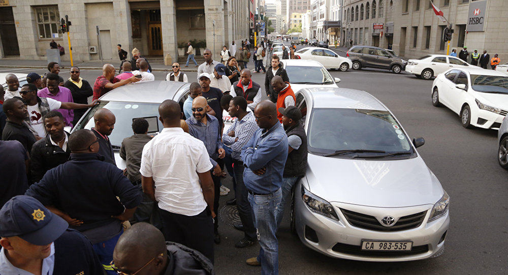 Members of the Uber taxi origination, South Africa (File)