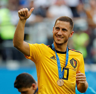 Soccer Football - World Cup - Third Place Play Off - Belgium v England - Saint Petersburg Stadium, Saint Petersburg, Russia - July 14, 2018 Belgium's Eden Hazard celebrates with a medal after the match