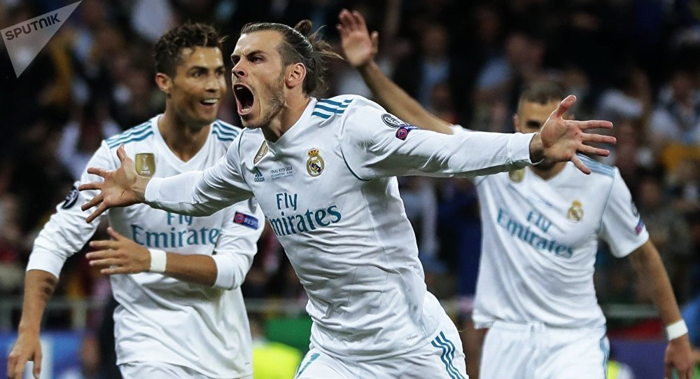 Real Madrid's player Gareth Bale, centre, celebrates a goal (File)