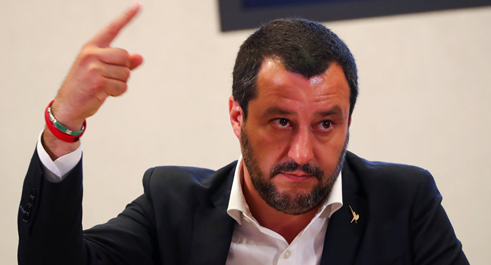 Italian Interior Minister Matteo Salvini gestures during a news conference with Libyan Deputy Prime Minister Ahmed Maiteeg in Rome, Italy July 5, 2018