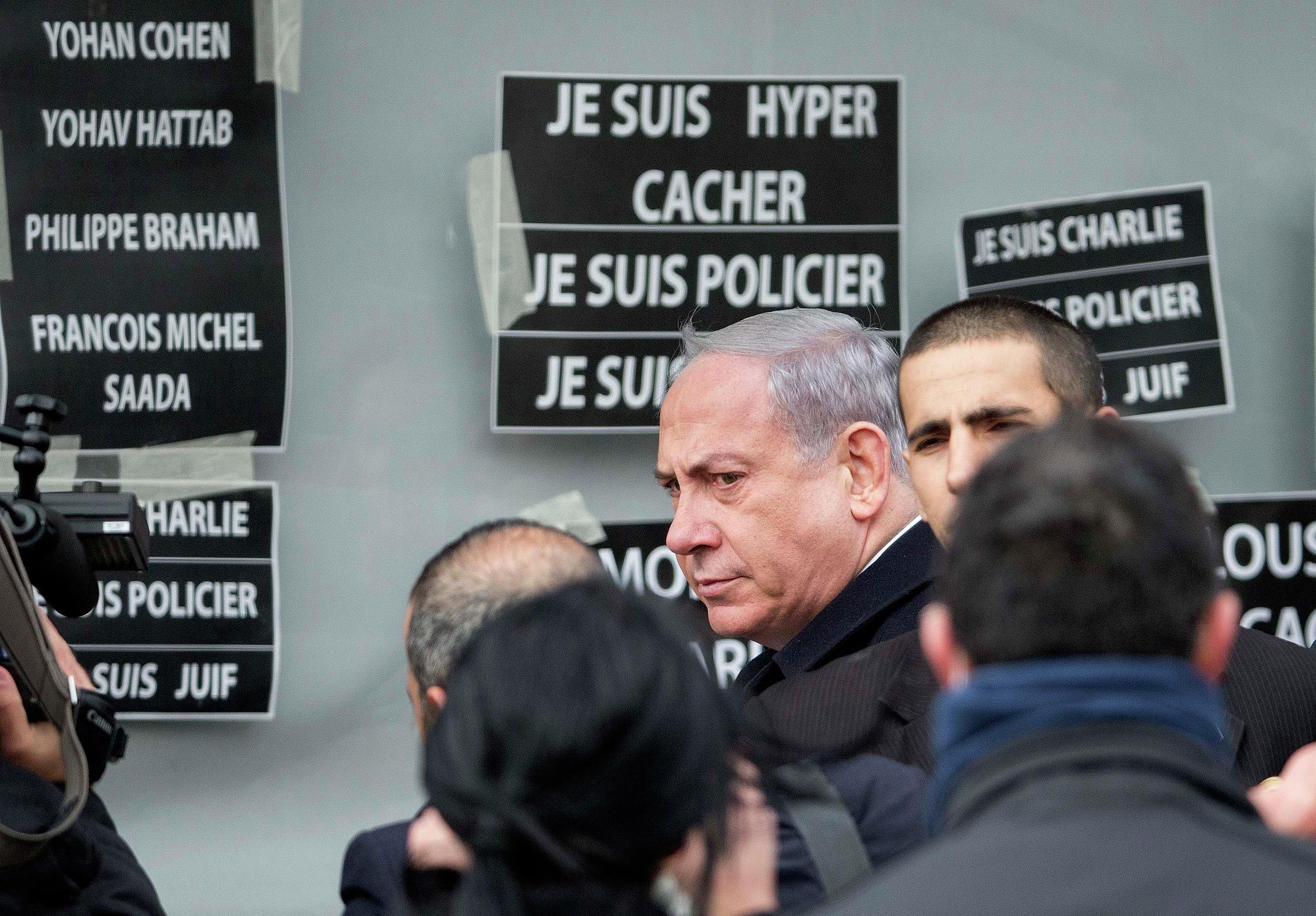 Israel's Prime Minister Benjamin Netanyahu arrives at the Hyper Cacher kosher supermarket January 12, 2015 near the Porte de Vincennes in Paris