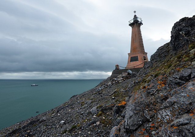A lighthouse on Cape Dezhnyov in the Chukotka Autonomous Area