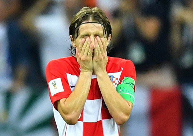 Soccer Football - World Cup - Final - France v Croatia - Luzhniki Stadium, Moscow, Russia - July 15, 2018 Croatia's Luka Modric reacts