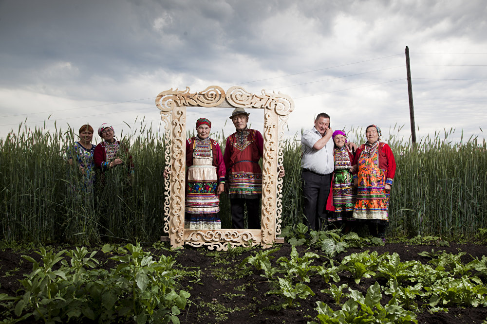 Marii El dwellers in the Ural region wear folk costumes. Portrait. A Hero of Our Time, series, 3rd place