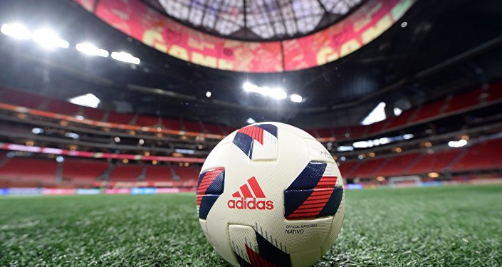 An Adidas soccer ball on the field prior to the 2018 MLS All Star Game between the MLS All-Stars and Juventus at Mercedes-Benz Stadium
