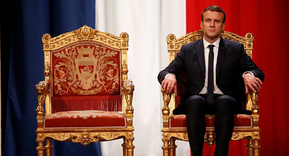 French President Emmanuel Macron takes part in an official ceremony at Paris' city hall after his formal inauguration as French President on May 14, 2017 in Paris