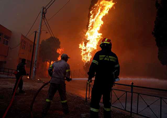Firefighters and soldiers try to extinguish a wildfire burning in the town of Rafina, near Athens, Greece, July 23, 2018