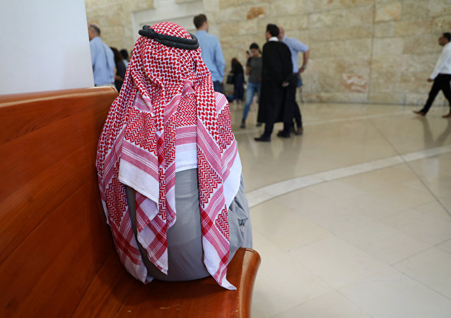 A resident of the Bedouin village of Khan al-Ahmar waits for the start of a hearing at the Israeli Supreme Court in Jerusalem August 1, 2018.