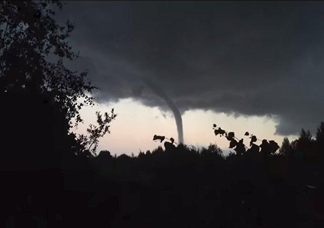 Tornado over Ladoga Lake in Russia