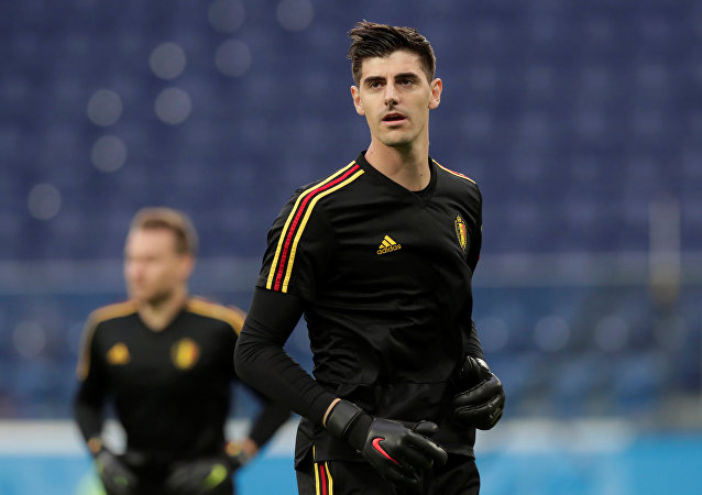 World Cup - Semi Final - France v Belgium - Saint Petersburg Stadium, Saint Petersburg, Russia - July 10, 2018 Belgium's Thibaut Courtois during the warm up before the match