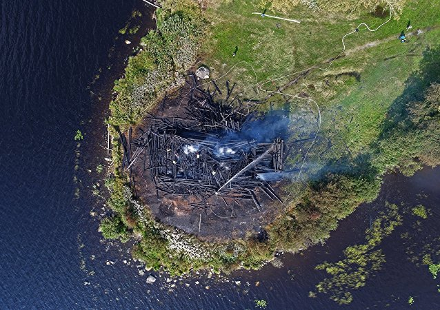 Burned Church of Assumption in the Russian city of Kondopoga, Karelia
