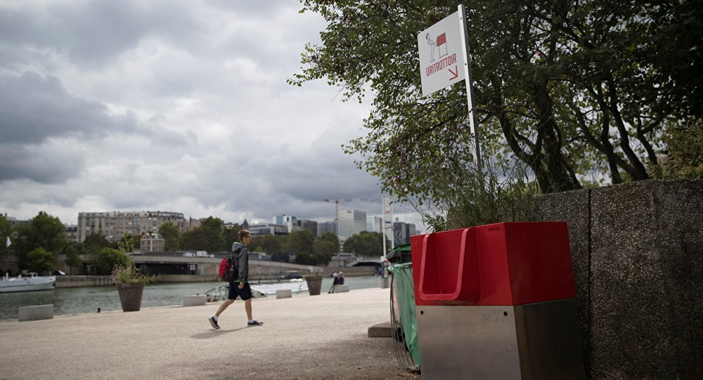 A picture shows a uritrottoir public urinal on August 13, 2018, on the banks of the river Seine in Paris