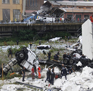 The collapsed Morandi Bridge is seen in the Italian port city of Genoa in this picture released by Italian firefighters on August 14, 2018