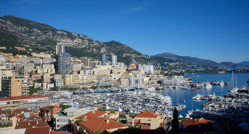 View of the Le Revuar residential area and Port Hercule in the Principality of Monaco.