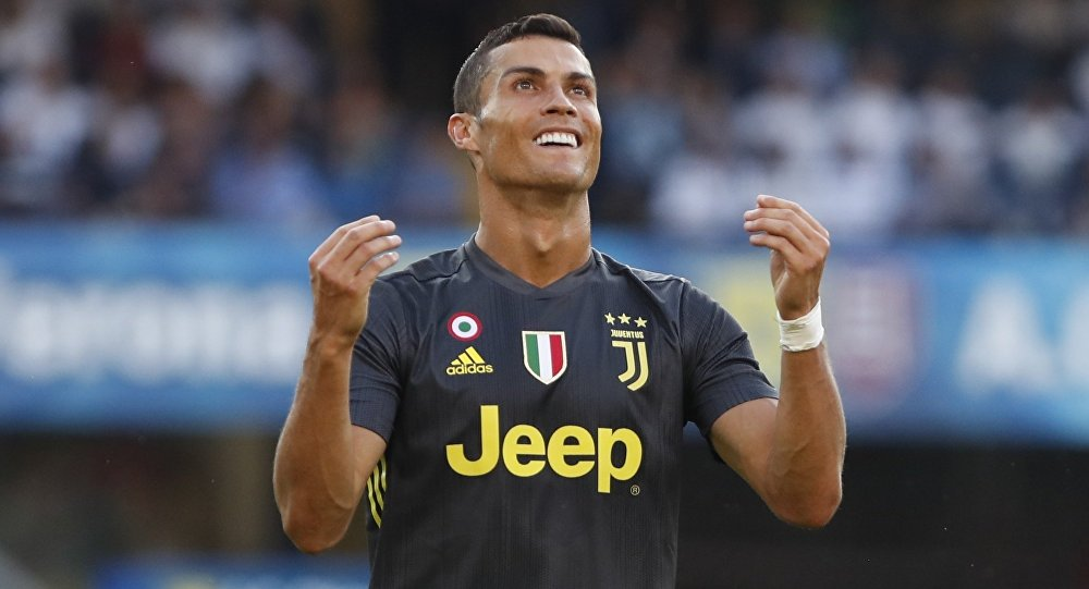 Juventus' Cristiano Ronaldo reacts during the Serie A soccer match between Chievo Verona and Juventus, at the Bentegodi Stadium in Verona, Italy, Saturday, Aug. 18, 2018