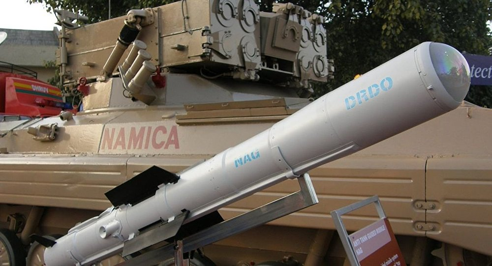 An image of the Nag missile and the Nag missile Carrier Vehicle (NAMICA), taken during DEFEXPO-2008, in Pragati Maidan, New Delhi, on 15th February 2008.