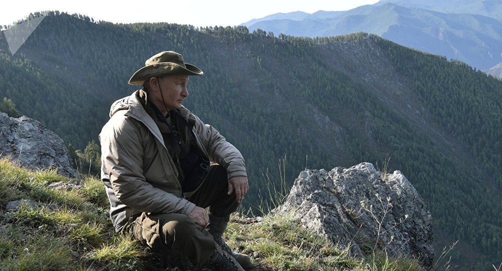 26 August, 2018. Russian President Vladimir Putin on a vacation in the Republic of Tuva
