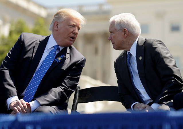 US President Donald Trump and Attorney General Jeff Sessions attend the National Peace Officers Memorial Service