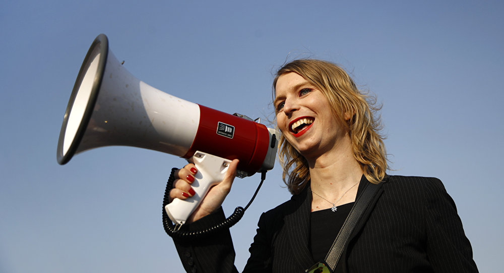 In this 18 April, 2018 photo, Chelsea Manning addresses participants at an anti-fracking rally in Baltimore