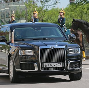 May 7, 2018. An Aurus car of the Russian president's motorcade