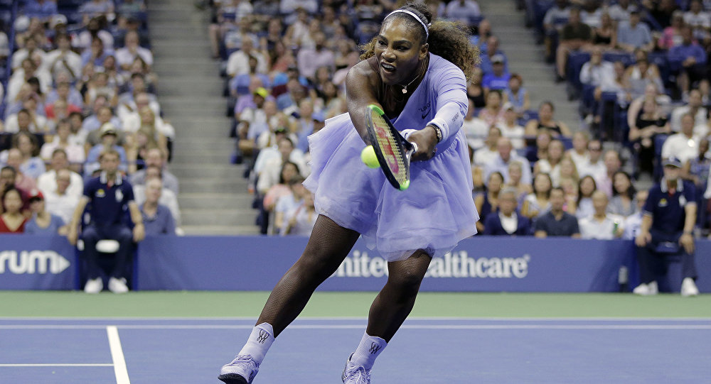 new style 8d49a 42a71  Strong   Feminine   S Williams Turns Heads Wearing Lavender Tutu at US Open