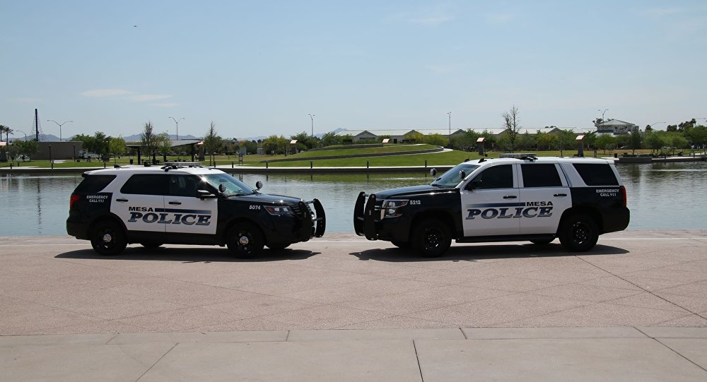 Squad cars of the Mesa Police Department in Arizona.