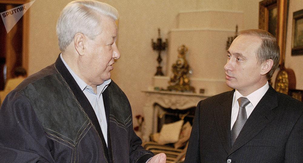 Acting President Vladimir Putin congratulating the first President of Russia Boris Yeltsin on his birthday