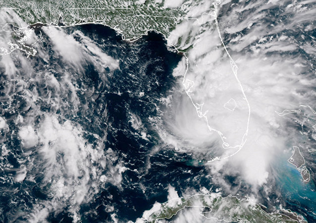Tropical Storm Gordon is pictured nearing Florida, U.S. in this September 3, 2018 NASA satellite handout photo.