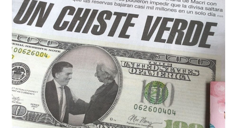 Green Joke reads the headline of this Argentinian newspaper, a reference to the peso's exchange rate with the dollar