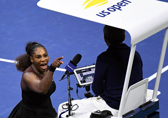 Sep 8, 2018; New York, NY, USA; Serena Williams of the United States yells at chair umpire Carlos Ramos in the women's final against Naomi Osaka of Japan on day thirteen of the 2018 U.S. Open tennis tournament at USTA Billie Jean King National Tennis Center.