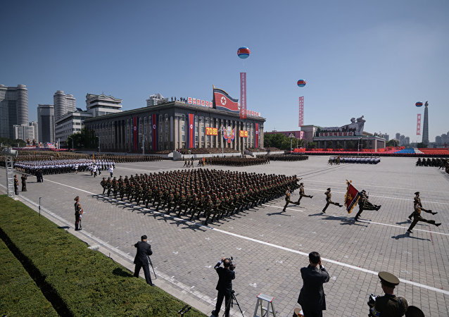 Korean People's Army (KPA) soldiers march during a military parade on Kim Il Sung square in Pyongyang