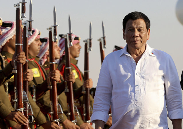 Philippine President Rodrigo Duterte arrives at the Queen Alia Airport in Amman, Jordan, Wednesday, Sept. 5, 2018.