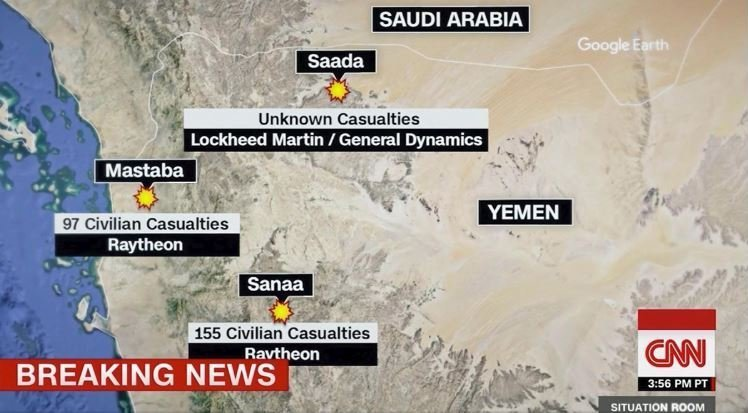 Locations where US-made munitions struck civilian targets.