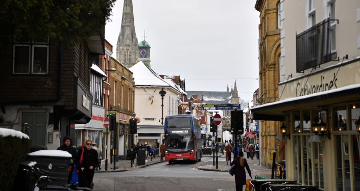 People walk through the centre of Salisbury