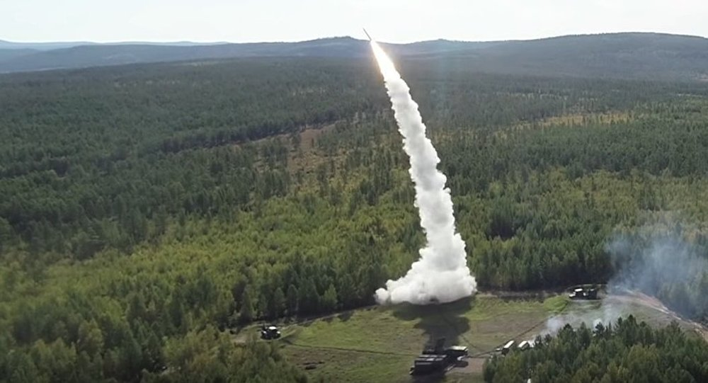 Launch of missiles from S-300 and Buk systems in the course of the Vostok-2018 drills.