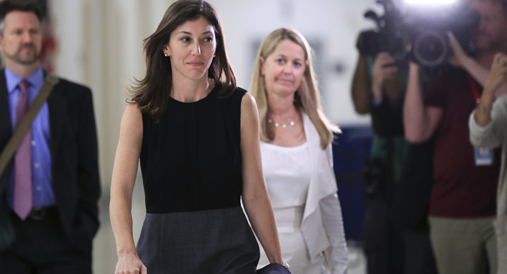 Former FBI lawyer Lisa Page leaves following an interview with lawmakers behind closed doors on Capitol Hill in Washington, Friday, July 13, 2018