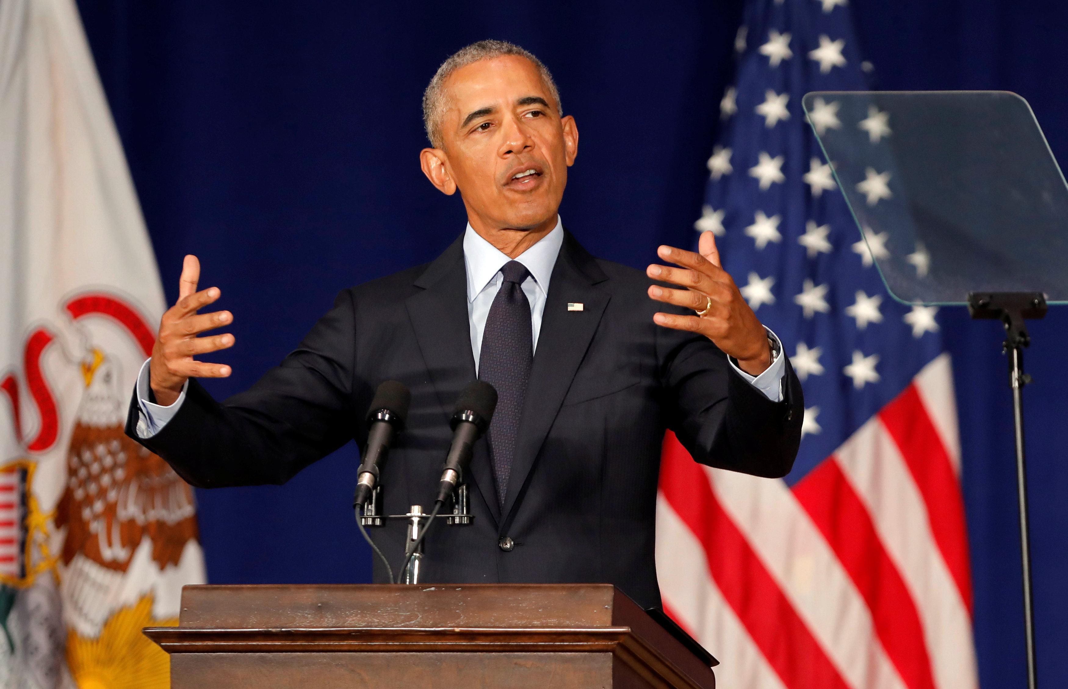 Former US President Barack Obama speaks at the University of Illinois Urbana-Champaign in Urbana, Illinois, US, September 7, 2018