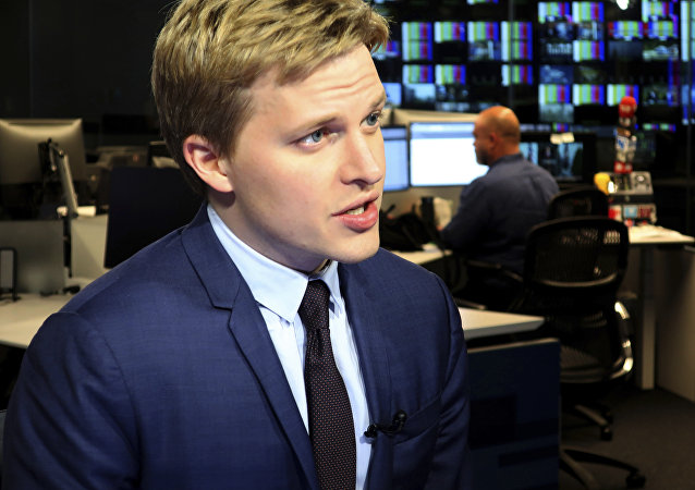Ronan Farrow, a contributing writer for the New Yorker, speaks with reporters at Associated Press headquarters in New York, Friday, July 27, 2018. Farrow, who wrote a Pulitzer Prize-winning story for the New Yorker on the sexual misconduct allegations against media mogul Harvey Weinstein, has written a similar story for the magazine on CBS Chief Executive, Les Moonves.